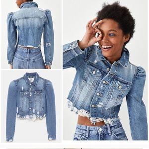 Zara Puff Shoulder Distressed Denim Jacket
